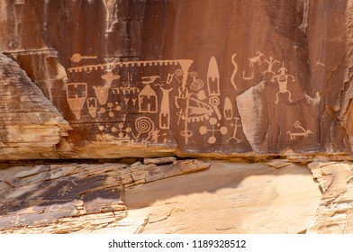 """USA, Nevada, Clark County, Gold Butte National Monument. The Khota Circus petroglyph panel showing """"circus tent"""" handbags, anthropomorphic spirits, animals, and other symbols."""