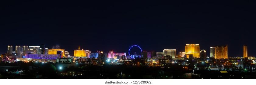 USA, Nevada, Clark County, Las Vegas. A panorama of the city skyline at night.