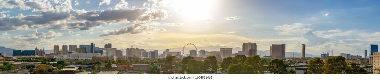 USA, Nevada, Clark County, Las Vegas. A bright high key panorama of the Vegas skyline along the hotels and casinos of the strip.