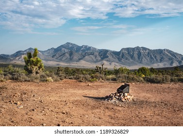 USA, Nevada, Clark County, Spring Mountains National Recreation Area. A campsite on the way to Lovell Canyon looking back towards Mt. Potosi.