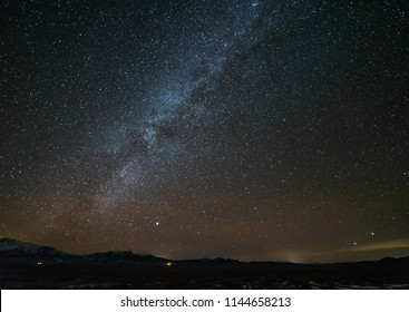 USA, Nevada, Lander County, Big Smokey Valley. A shot of the Milky Way Galaxy taken from Spencer Hot Springs outside Austin.