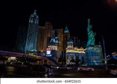 USA. NEVADA. LAS VEGAS, JUNE, 2017: Night view Las Vegas Strip.
