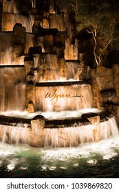 USA. NEVADA. LAS VEGAS. MARCH 2018: Entrance to the hotel Wynn, front waterfall.
