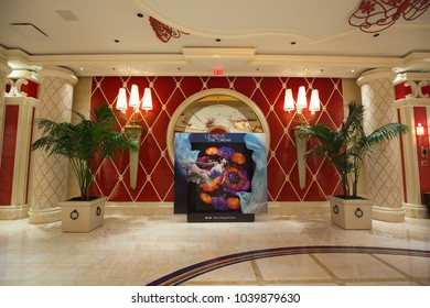 USA. NEVADA. LAS VEGAS. MARCH 2018: Hotel Wynn, advertising show Le Reve - The Dream by Dragone.
