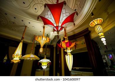 USA. NEVADA. LAS VEGAS. MARCH 2018: Large chandeliers in the Hotel Wynn.