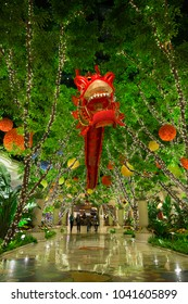 USA. NEVADA. LAS VEGAS. MARCH 2018: Beautiful Hall Hotel Wynn in Las Vegas with Chinese Red Dragon.