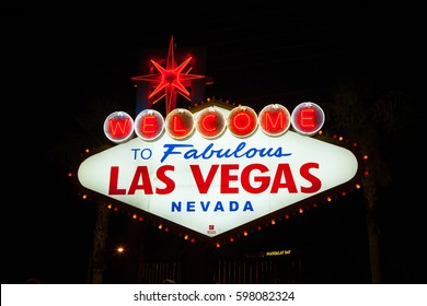 USA. NEVADA. LAS VEGAS. MARCH - 5, 2017. Night neon sing Welcome to Las Vegas.