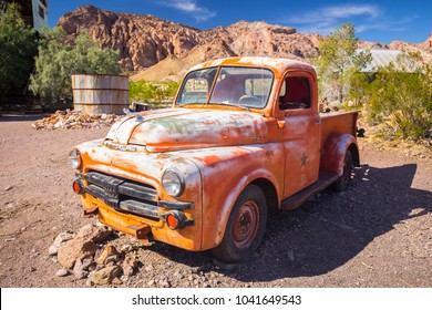 USA. NEVADA. NELSON. SEARCHLIGHT. MARCH 2018: Eldorado Canyon Mine Tours. Many Old cars. Cinematographic place. Abandoned village.
