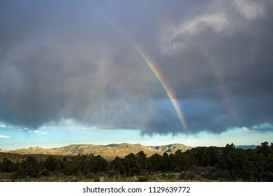 USA, Nevada, Nye County, Monitor Range. A double rainbow after a sotrm over Elk Horn Canyon next to West Stone Cabin Valley.