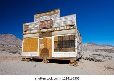 USA, Nevada, Nye County, Rhyolite Ghost Town: Abandoned Rhyolite Mercantile store along main street.