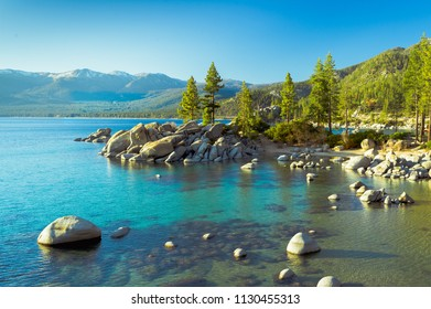 USA, Nevada, Washoe County, Sand Harbor State Park. A swimming cove on the shores of Lake Tahoe.