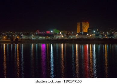 USA, Nevada, Washoe County. The skyline of downtown Sparks reflecting in Sparks Marina near Reno in Northern Nevada.