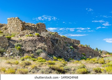 USA, Nevada, White Pine County, White Pine Range, Hamilton Mining District, Eberhardt. The ruins of the large stone  Stanford Mill in Applegarth Canyon at Eberhardt Mine that was abandoned in 1885.