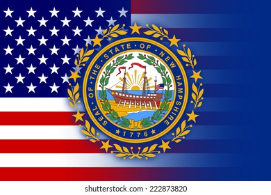 USA and New Hampshire State Flag