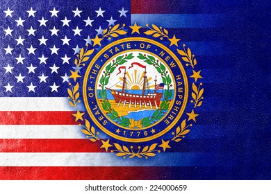 USA and New Hampshire State Flag painted on leather texture