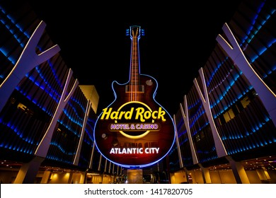 USA. NEW JERSEY. ATLANTIC CITY. JUNE 2019: NEW SIGN HARD ROCK HOTELS. CENTRAL ENTRANCE WITH GUITAR.