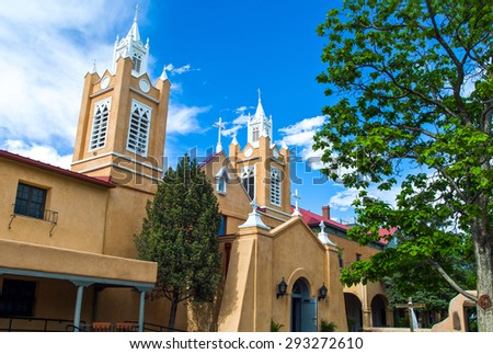 U.S.A. New Mexico, Route 66, Albuquerque, the San Filippo cathedral in the old town