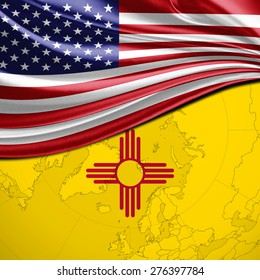 USA and New Mexico State Flag on world map background