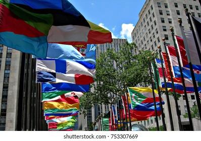 USA, New York: Flags in Manhattan.