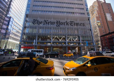 USA. NEW YORK. MANHATTAN. DECEMBER 2017: Building The New York Times. Popular newspaper in the USA