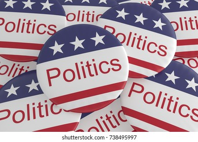 USA News Badges: Pile of Politics Buttons With US Flag, 3d illustration