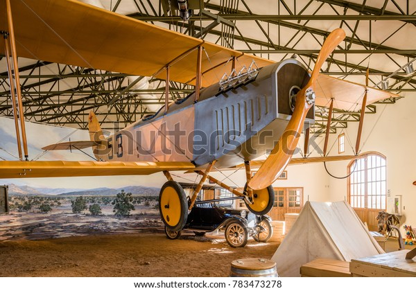 USA, NM, COLUMBUS -CIRCA 2008 -1916 JN-3 Airplane (Jenny) in the museum of pancho Villa State Park