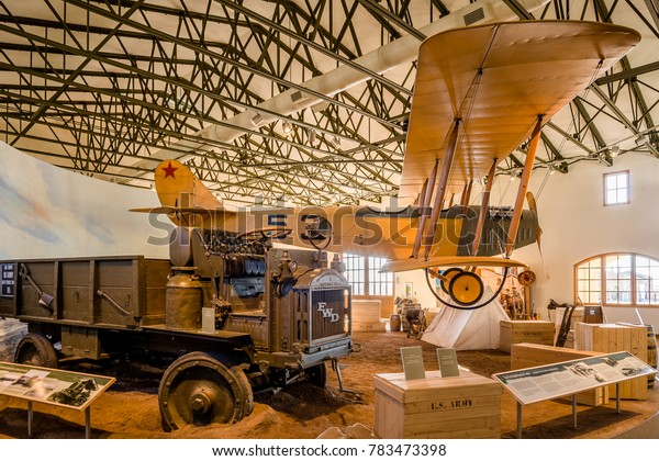 USA, NM, COLUMBUS -CIRCA 2008 -FWD Truck and 1916 JN-3 Airplane (Jenny) in the museum of Pancho Villa State Park