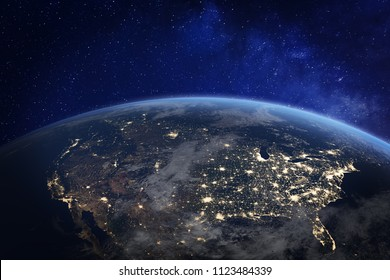 USA and North America from space at night with city lights showing human activity in United States, Canada and Mexico, New York, California, 3d rendering of planet Earth, elements from NASA