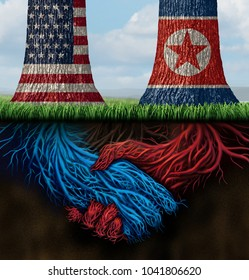 Usa North Korea agreement and American and North Korean diplomacy between pyongyang and washington as tree roots connecting together with 3D illustration elements.