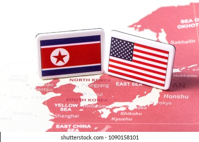 USA and North Korea country flag. Concept fight, war, business competition, Summit