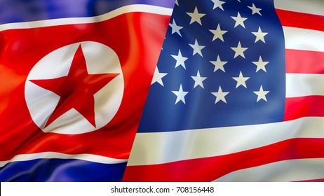 USA and North Korea flags. 3D Waving flag design. USA North Korea flag, pictures, wallpaper, image. USA North Korea relations concept. flag of Korean and United States.conflict,war,US attack concept