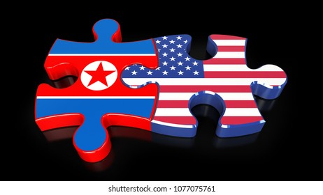 USA and North Korea flags on puzzle pieces. Political relationship concept. 3D rendering