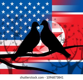 Usa North Korea Peace Doves 3d Illustration. Pacifist Freedom And Denuclearization Accord Between Trump And Rocket Man Dprk Crisis Talks