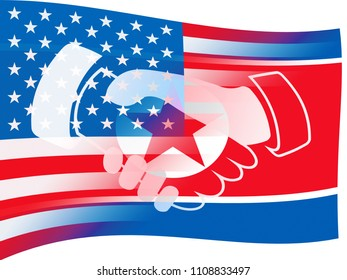 Usa North Korean Peace Holding Hands Flag 3d Illustration. Meeting Hope For Nuclear Talks Between  US And NK