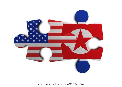 USA and North Korean puzzle from flags