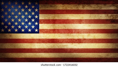 USA old Dirty flag background.Flag as a symbol of independence of the American people and a good historical background for your design.