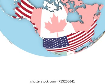 USA on globe with flag. 3D illustration.