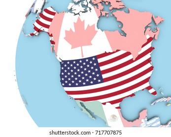 USA on political globe with flag. 3D illustration.