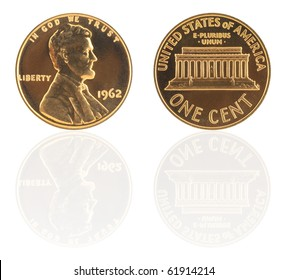 USA one cent with reflection