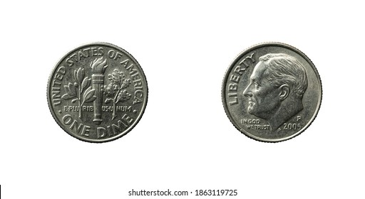 USA One Dime coin from 2005 obverse and reverse.