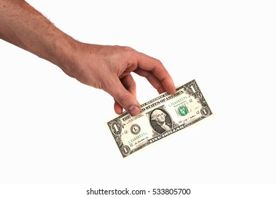 USA one dollar in his hand on a white background, close-up American money, USA banknotes isolated