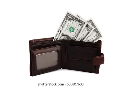 USA one dollar in a purse on a white background, close-up American money, USA banknotes isolated