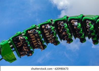 USA. ORLANDO. FLORIDA. APRIL. 2017: Roller coaster The Hulk. Islands of Adventure. Universal.