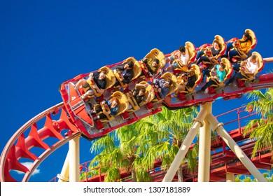 USA. ORLANDO. FLORIDA. FEBRUARY 2019: Roller coaster Rock it. Universal Studios. Universal.