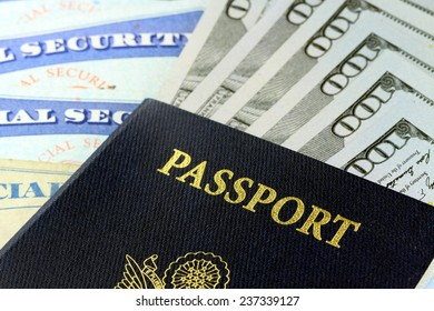 USA Passport with American Currency Travel documents tourism concept
