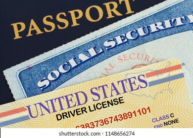 USA Passport with Drivers License and Social Security Card.