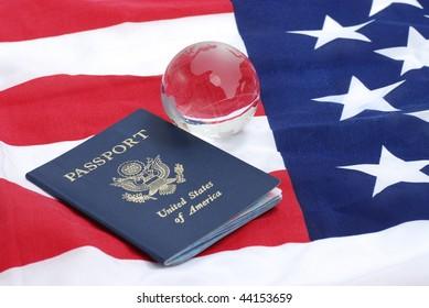 USA passport and the globe