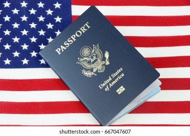USA passport on the national flag of united states