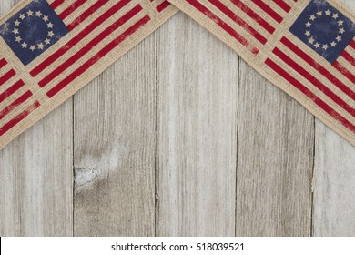 USA patriotic old flag on a weathered wood background with copy space for your message