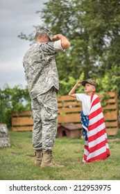 USA patriots concept. Father salutes his son. focus on father